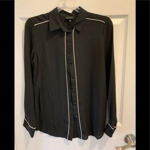 Black with White Trim Button Down Blouse